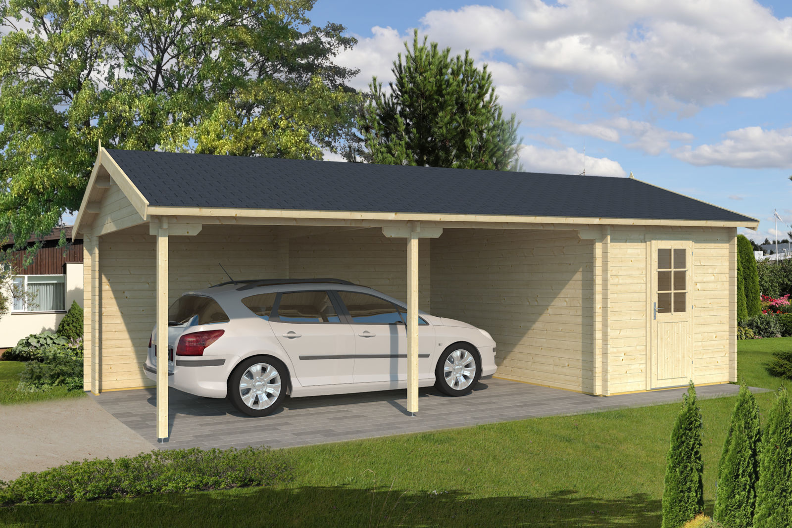 Autotalli rauma tuplalaseilla piharakennukset24 for Garage total ozoir la ferriere